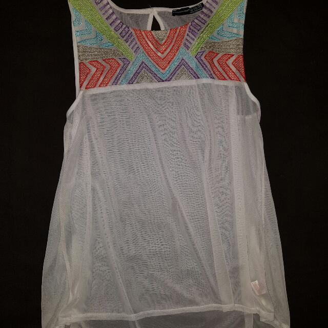 White Sheer Top - Orange, Blue Detail Size 10