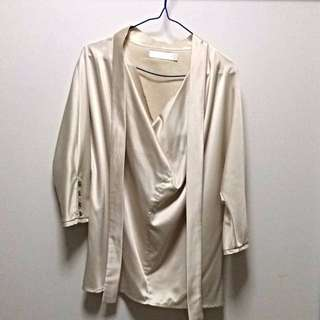 Bysi Gold Cowl Neck Blouse with Pussybow