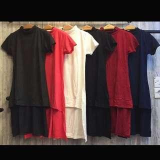 SIDE SLIT DRESS BERSHKA IDR 60.000 material; rayon kaos super comfy (stretch) allsize fit to L Hanya warna Navi (biru dongker)