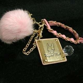 Crystal Ball粉紅毛球吊飾跟鑰匙圈˙