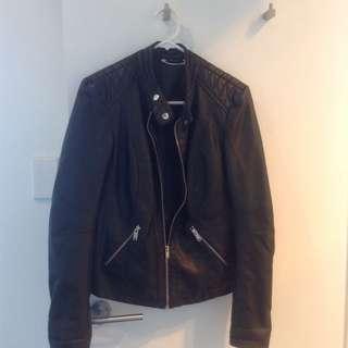 """Leather Look"" Black Biker Jacket."