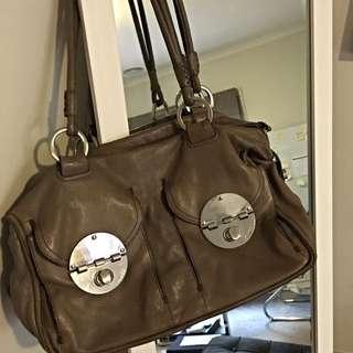 Mimco Turnlock Handbag Taupe