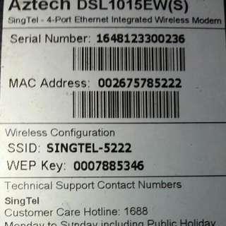 FOC Aztech DSL 1015EW Singtel Modem (Reserved)