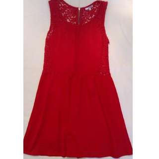 Valleygirl Red Lace-Back Dress