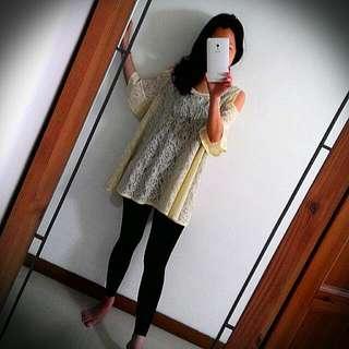米白蕾絲短袖洋裝