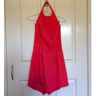 Coral Backless Playsuit Size 8