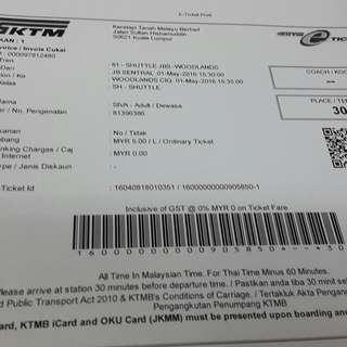 Return Ktm Train Tickets To Jb Sentral And Back On 1 May 2016