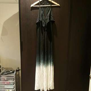 Black Ombre Maxi Dress With Lace Back Detail SIZE 6