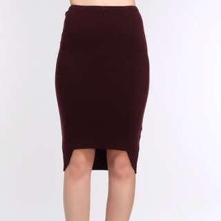 Red Wine High-Low Pencil Skirt