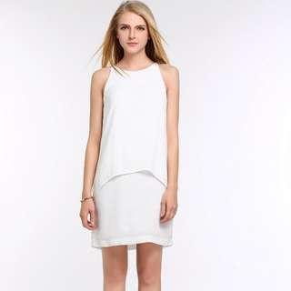 White Sleeveless Chiffon Dress