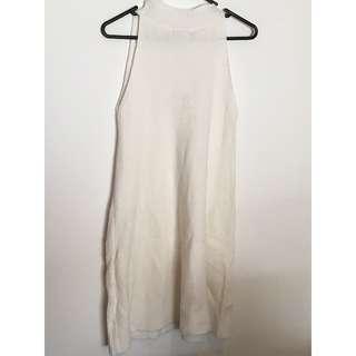 White Sleeveless Knit Dress