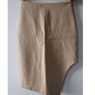 Faux Leather Nude Midi Skirt