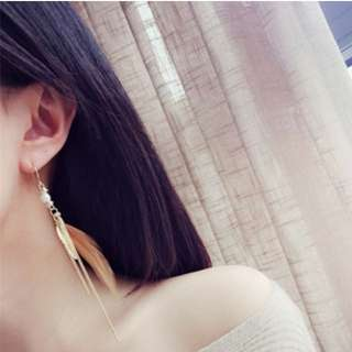 🚚 【現貨+預購】韓國復古波西米亞羽毛鏈條珍珠流蘇耳環