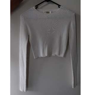 Long Sleeve White Knitted Crop