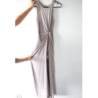 Grey Wrap Maxi Dress