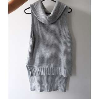 Grey Knitted Turtle Neck Vest