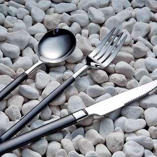 [預購] 不鏽鋼 湯匙 叉子 筷子 水果叉 餐具 磨砂