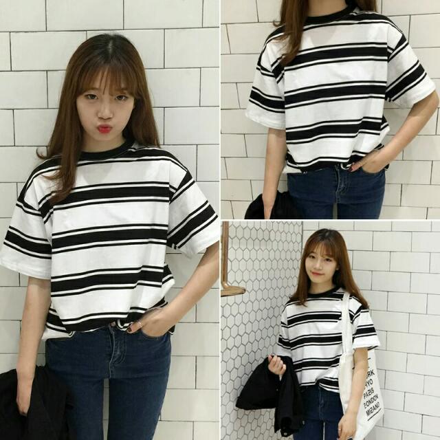 (預購)2016夏季新款寬鬆顯瘦簡約條紋棉質短袖T恤韓範外穿上衣女學生潮