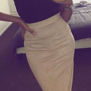 Nude Faux Suede Midi Skirt