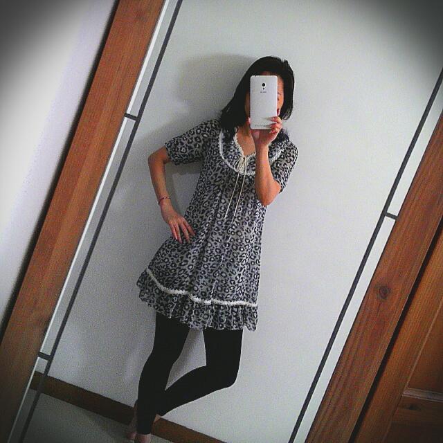 豹紋黑白短袖雪紡洋裝