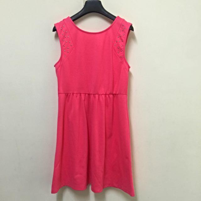 可愛桃紅小洋裝