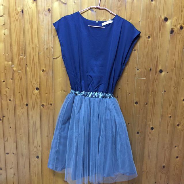 韓版-網紗撞色拼接蓬蓬裙(洋裝、連身裙、無袖背心裙)