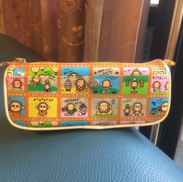 日本正貨小猴子鉛筆袋 收納袋 化妝包