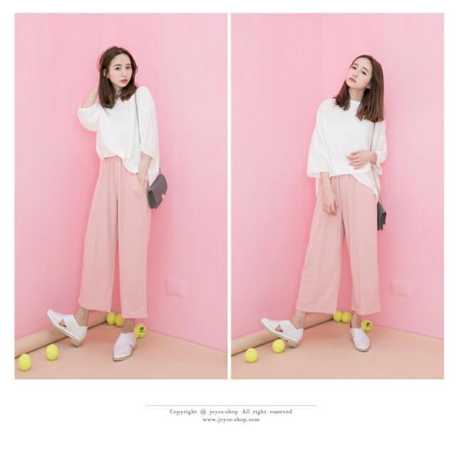 粉色 寬褲 夏天必備
