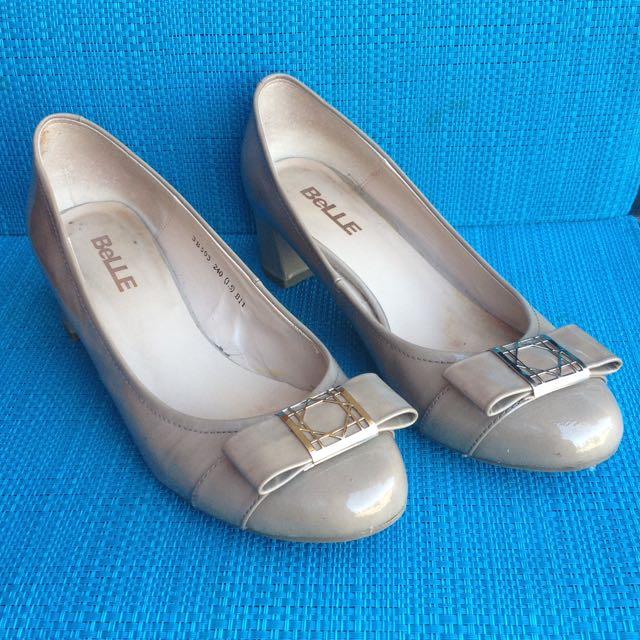 Belle Patent Low Heel Shoes Size Aus 6.5