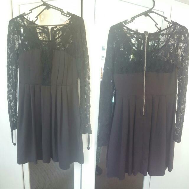 Black Lace Sleeved Dress