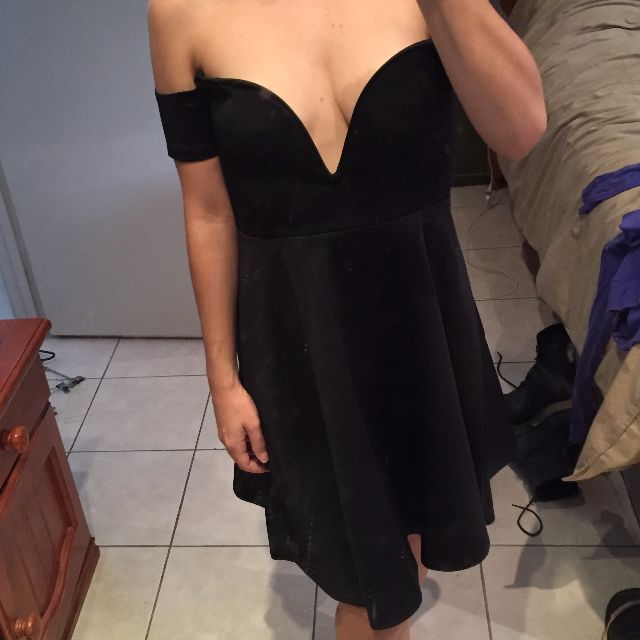 02c84ae30ecc Boohoo Off The Shoulder Low Cut Black Skater Dress