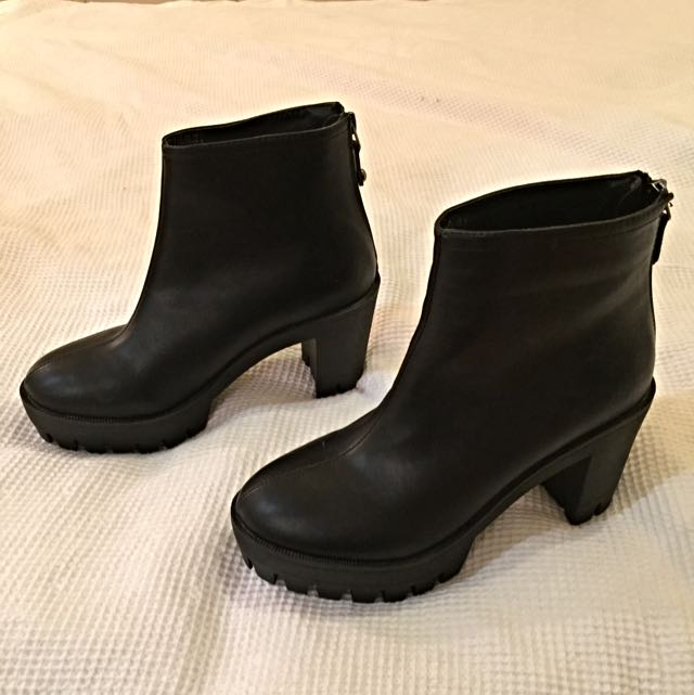 Leather Heeled Boots Size 36, 37 Can Fit As Well