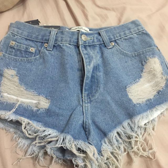 Lulus 水洗藍色短褲