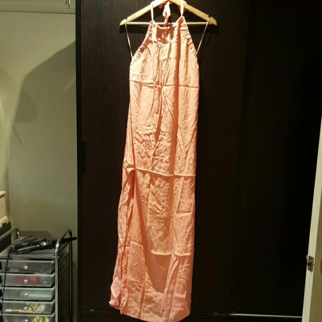 Peach Halter Neck Maxi Dress SIZE Small