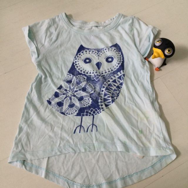 小女孩貓頭鷹印花短袖T恤 淺藍綠色
