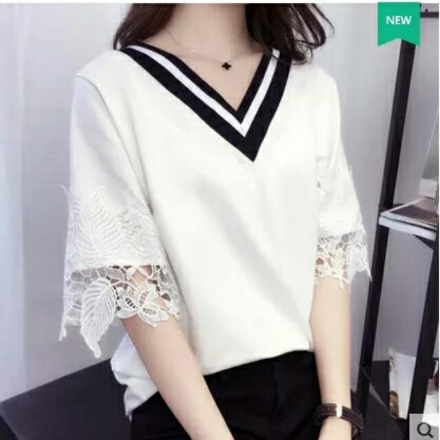 (預購)短袖T恤女韓國夏季女裝寬鬆七分袖白色T恤V領學生上衣女春