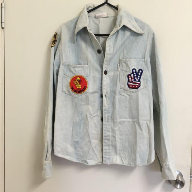 Vintage Stone Wash Denim Shirt Size 8