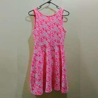 H&M Hot Pink Floral Skater Dress