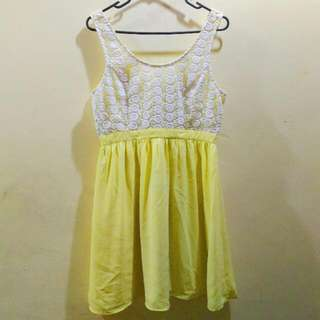 F21 Floral Lace Yellow Dress