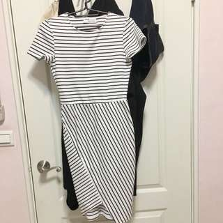 Zara 歐美時尚 條紋短洋