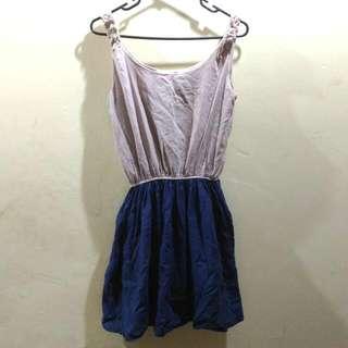 Beige Blue Dress