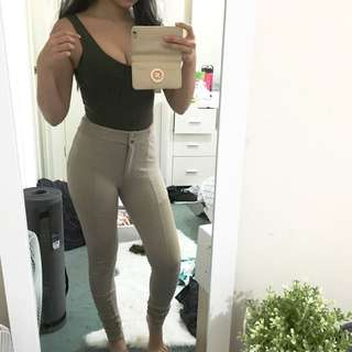High Waist Beige Pants