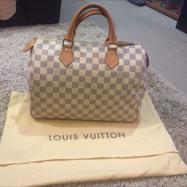 100% Authentic Louis Vuitton Speedy 30 Damier Azur Canvas N41370