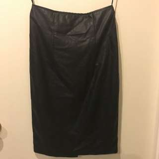 High Waisted Leather Skirt