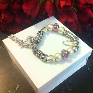 Mothers Day Charm Bracelet With Free Bunch Satin Flowers
