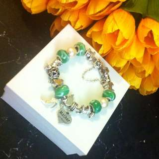 Mothers Day Charm Bracelet With Free Bunch Of Satin Flowers