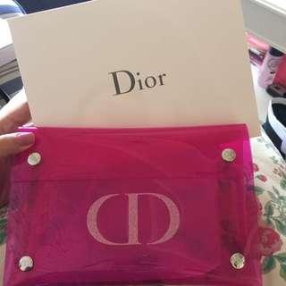 Dior 桃紅果凍化妝包