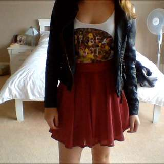 Fit And Flare Red Skirt