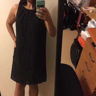 H&M Black Dress With Jewelled Collar - Size 12