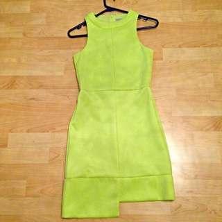 Stunning Fluorescent Yellow/Lime Dress Size 8